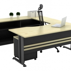 Executive Table+Side Connection+Dual Low Cabinet+Mobile Pedestal-a