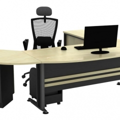 Executive Table+Side Connection+Fixed Pedestal+Low Cabinet+CPU Holder-a