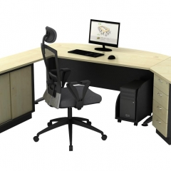 Executive Table+Side Connection+Fixed Pedestal+Low Cabinet+CPU Holder-b