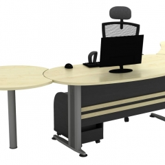 Executive Table+Side Connection+Metal Stand+Fixed Pedestal+CPU Holder-a