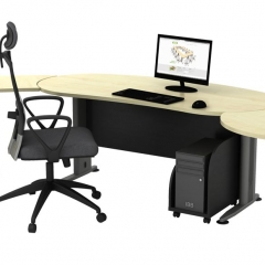 Executive Table+Side Connection+Metal Stand+Fixed Pedestal+CPU Holder-b