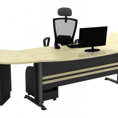 Executive Table+Side Connection+Metal Stand+Fixed Pedestal+CPU Holder-c