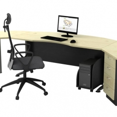 Executive Table+Side Connection+Metal Stand+Fixed Pedestal+CPU Holder-d
