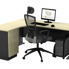 Superior Compact Table(L)+Fixed Pedestal+CPU Holder